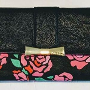 Betsey Johnson Abstract Roses Flap Over Wallet